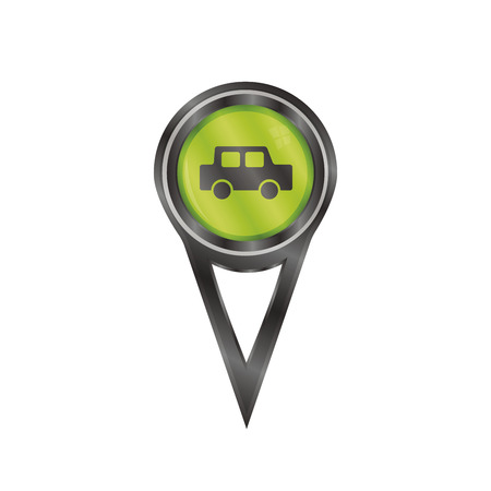 Black pin sign with an icon of a car Vector