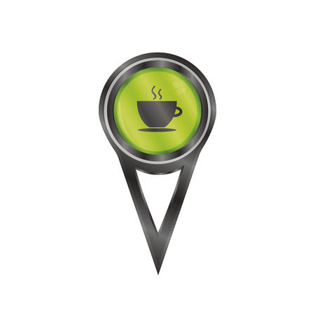 Black pin sign with an icon of a coffee cup Vector