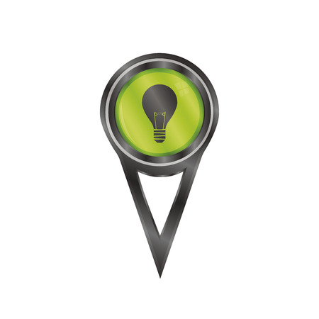 Black pin sign with a icon of a light bulb Vector