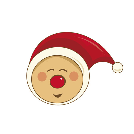 Happy Christmas pixie with red nose and hat Vector