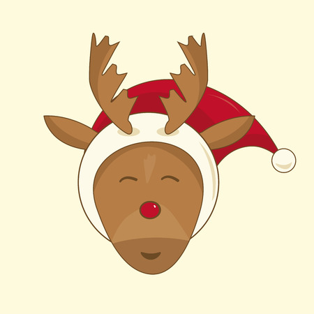 red nosed: Xmas illustration of Rudolph the red nosed reindeer Illustration
