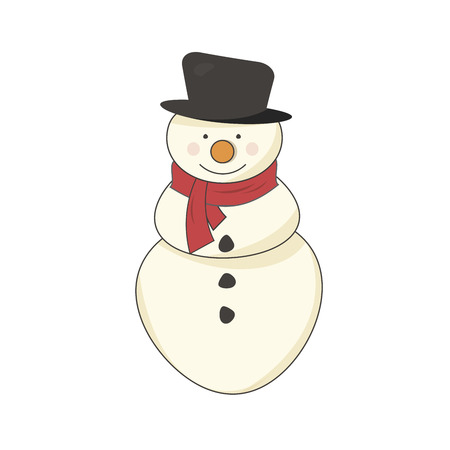Happy snowman with a red scarf Vector