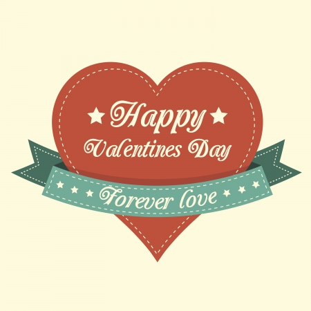 Vintage Valentines card with a heart Vector