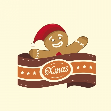 Vintage christmas label with the gingerbread man