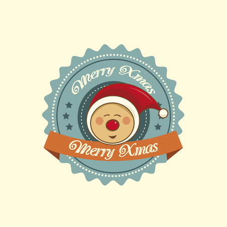 Vintage christmas label with a cute pixie Vector