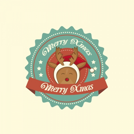 Vintage christmas label with Rudolph the red-nosed reindeer Vector
