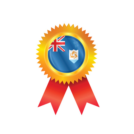 anguilla: Gold medal with the national flag of Anguilla Illustration