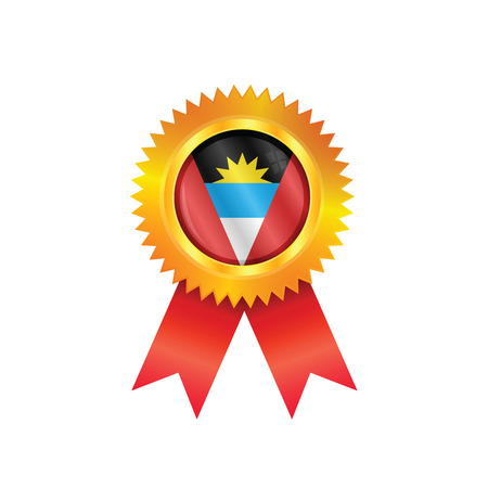 Gold medal with the national flag of Antigua & Barbuda