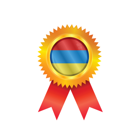 Gold medal with the national flag of Armenia