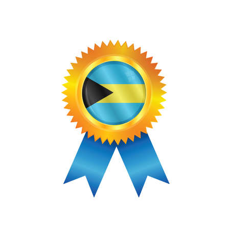 Gold medal with the national flag of Bahamas Illustration