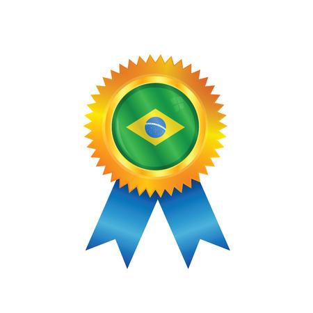 M�daille d'or avec le drapeau national du Br�sil