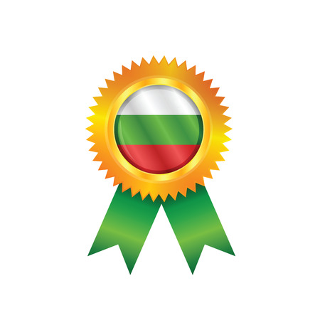 Gold medal with the national flag of Bulgaria Vector