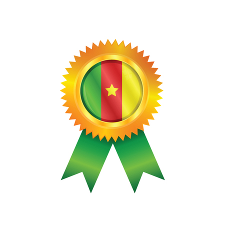 Gold medal with the national flag of Cameroon Illustration