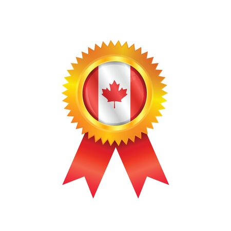 Gold medal with the national flag of Canada Vector