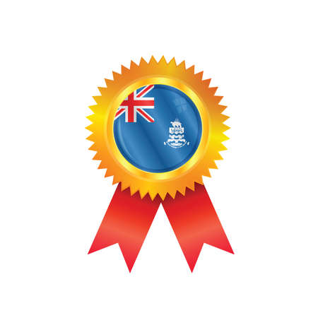 Gold medal with the national flag of Cayman Islands Vector
