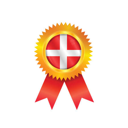 Gold medal with the national flag of Denmark