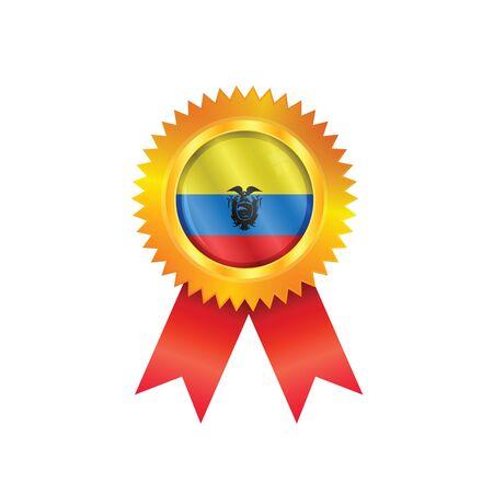 republic of ecuador: Gold medal with the national flag of Ecuador