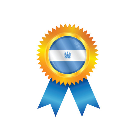 Gold medal with the national flag of El Salvador