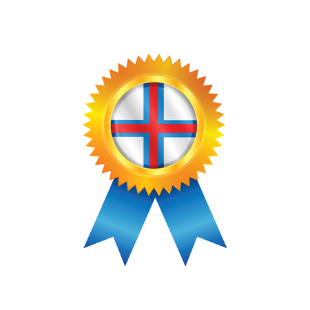 Gold medal with the national flag of Faroe Islands Illustration