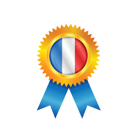 Gold medal with the national flag of France Vector