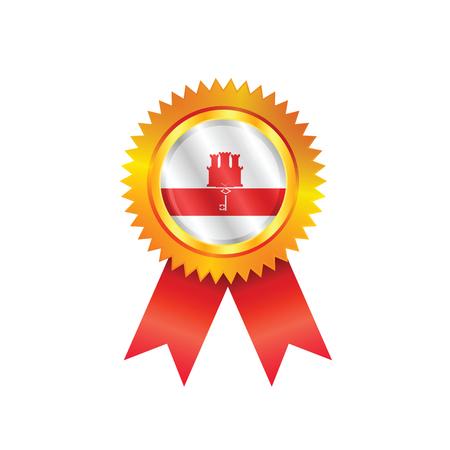 gibraltar: Gold medal with the national flag of Gibraltar