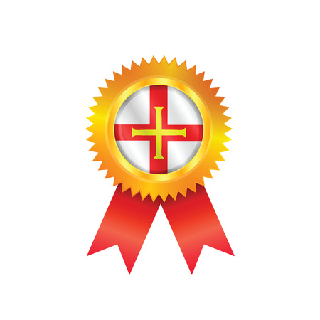 Gold medal with the national flag of Guernsey Illustration