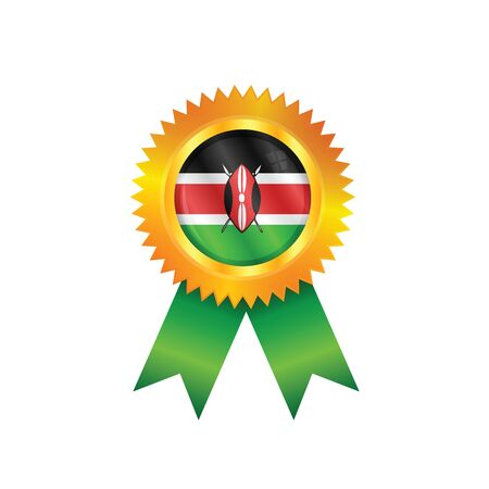 Gold medal with the national flag of Kenya Illustration