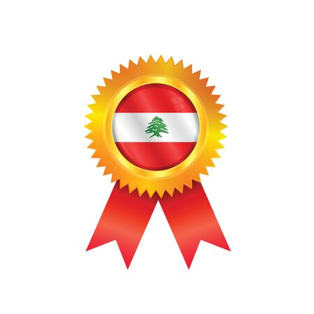 Gold medal with the national flag of Lebanon