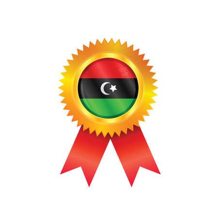 m�daille d'or avec le drapeau national de la Libye