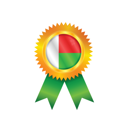 Gold medal with the national flag of Madagascar Illustration