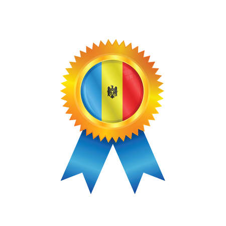 Gold medal with the national flag of Moldova Illustration