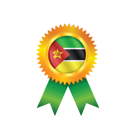 mozambique: Gold medal with the national flag of Mozambique