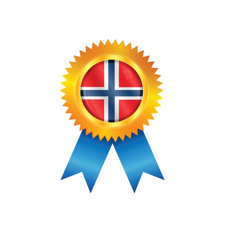 m�daille d'or avec le drapeau national de la Norv�ge