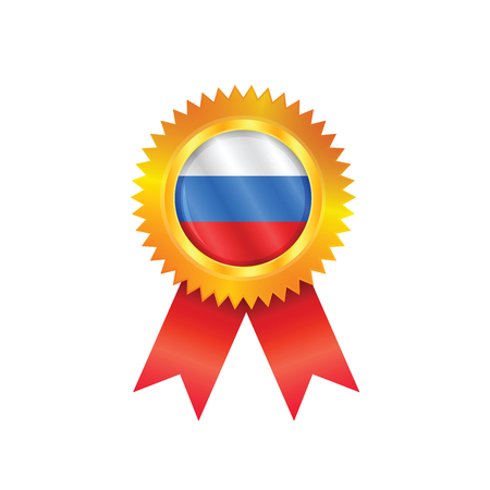 Gold medal with the national flag of Russia