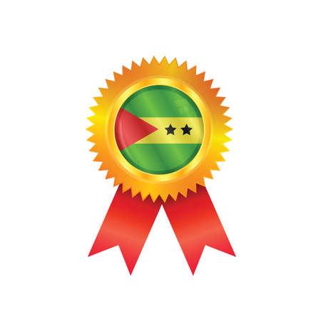 principe: Medalla de oro con la bandera nacional de Santo Tom� y Pr�ncipe Vectores