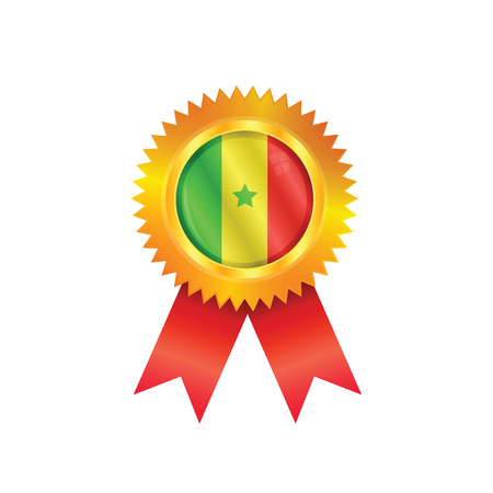 Gold medal with the national flag of Senegal