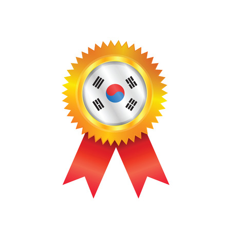 Gold medal with the national flag of South Korea Vector
