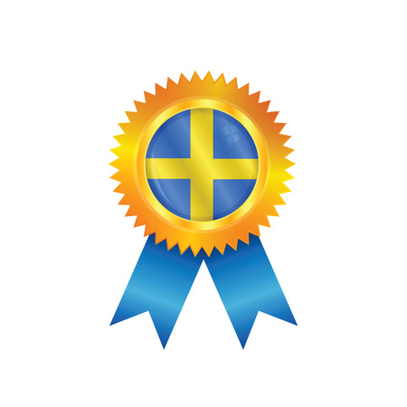 Gold medal with the national flag of Sweden