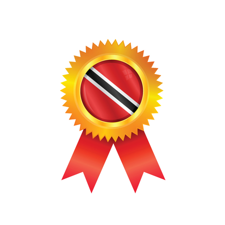 national flag trinidad and tobago: Gold medal with the national flag of Trinidad & Tobago