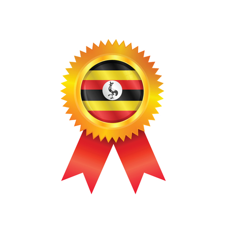 Gold medal with the national flag of Uganda