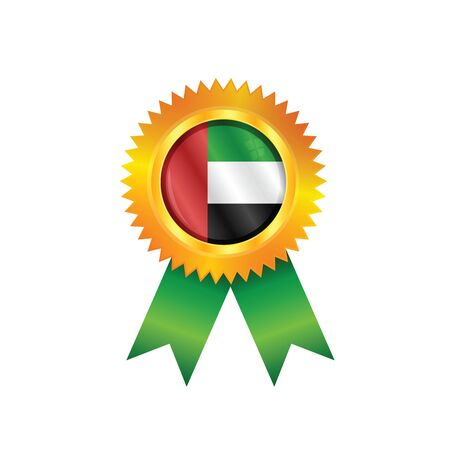 Gold medal with the national flag of United Arab Emirates