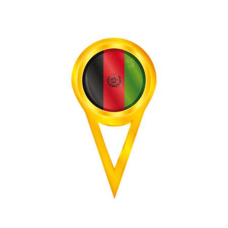 Or pinl avec le drapeau national de l'Afghanistan Illustration