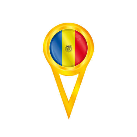 andorra: Gold pin with the national flag of Andorra