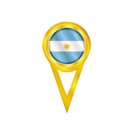 Gold medal with the national flag of Argentina Vector