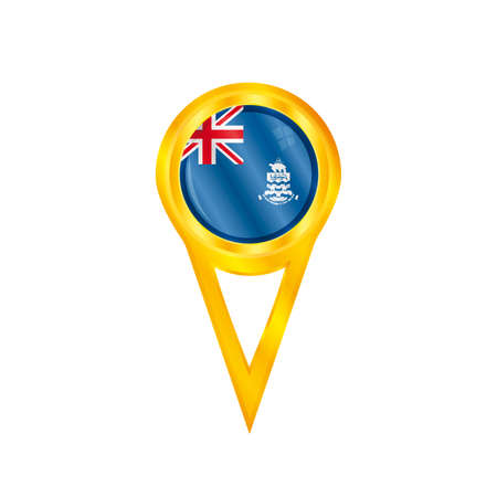 cayman: Gold pin with the national flag of Cayman Islands Illustration