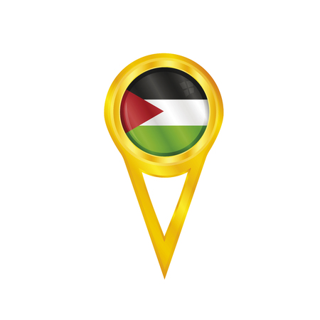 Gold pin with the national flag of Gaza Strip