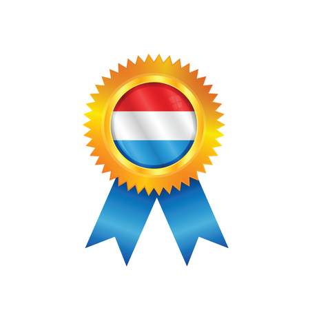 Gold medal with the national flag of Netherlands Illustration