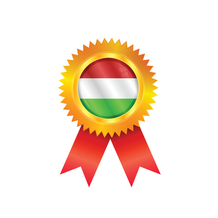 Gold medal with the national flag of Hungary Vector