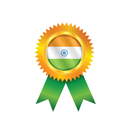 Gold medal with the national flag of India Illustration