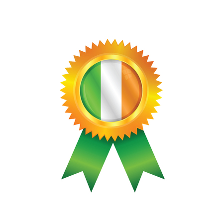 irish pride: Gold medal with the national flag of Ireland